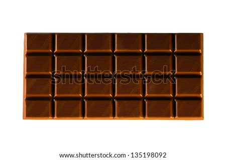 Milk Chocolate Bar on White - stock photo