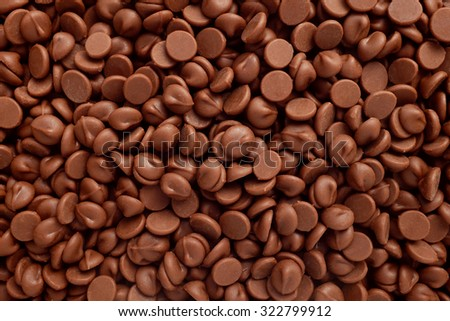 Milk chocolate chips as an abstract background texture - stock photo