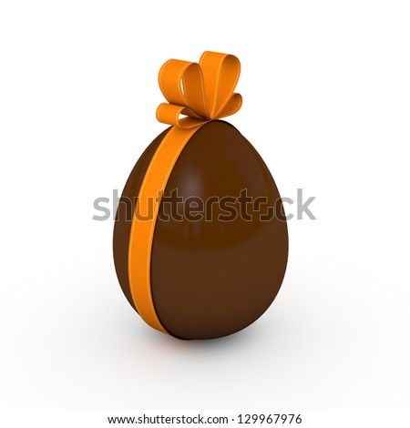 Milk chocolate easter egg with an orange ribbon (3D render) - stock photo