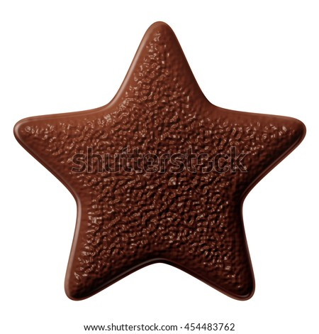 Milk chocolate star on white background isolated. porous chocolate - stock photo