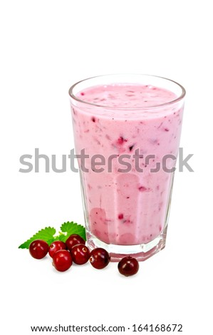 Milk cocktail with cranberries in a glass, mint isolated on white background - stock photo