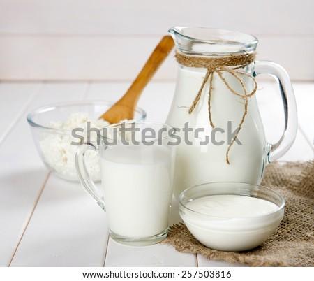 milk, cottage cheese - stock photo