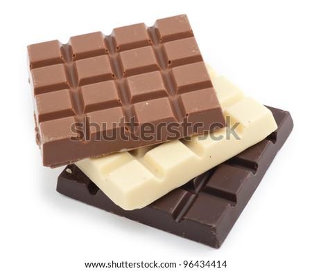 milk, dark and white chocolate bars - stock photo