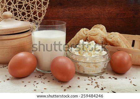 milk egg grainy curd bun rural morning health dairy products - stock photo