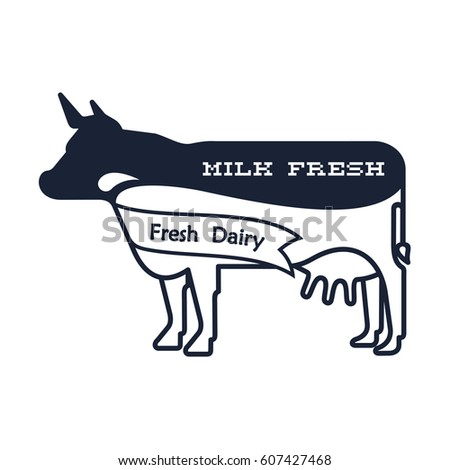 Milk Elegant Logo Template Label Sticker Stock Illustration
