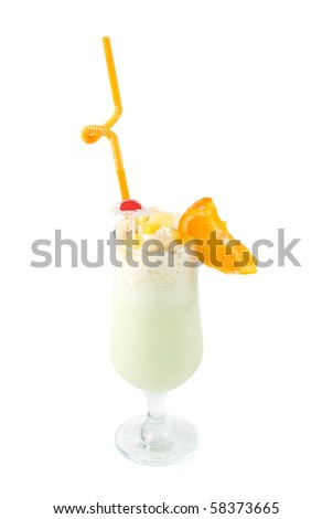 milk fruit cocktail with slice of orange cream and pipe