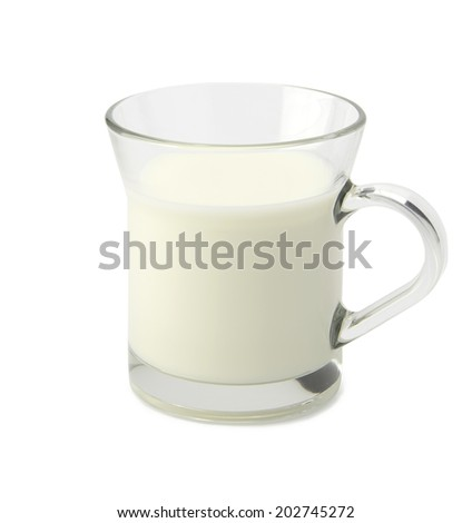 Milk glass isolated on white background with clipping path.