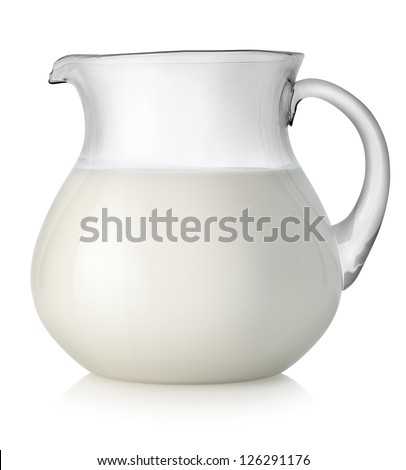 Milk in a glass jar isolated on white background - stock photo