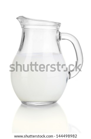 Milk in jug isolated on white