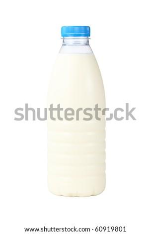 Milk in plastic bottles.  Isolated on white background. - stock photo