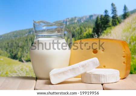 Milk jug and cheese against a mountains in background - stock photo