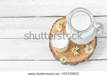 Milk jug and glass with chamomiles - stock photo