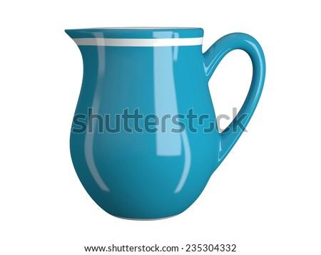 Milk jug isolated on white - stock photo