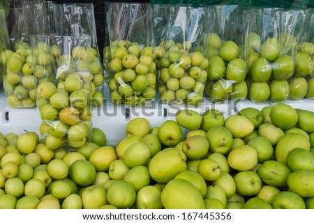 Milk Jujub,the monkey apple apply fertilizer with milk sell by packing in plastic bag
