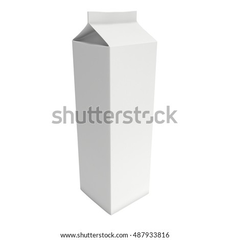 Milk or juice box. Retail package mockup. 3d render illustration isolated on white.