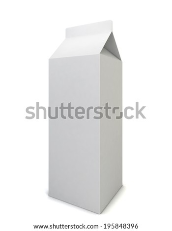 Milk package. 3d illustration isolated on white background  - stock photo