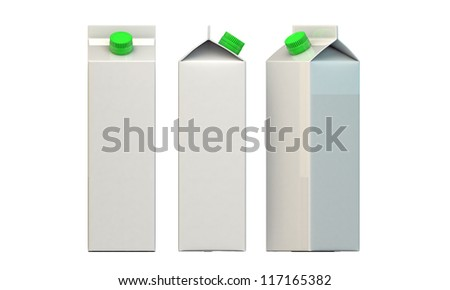 milk package with green cap isolated on white background
