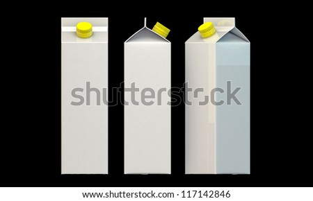 milk package with yellow cap isolated on black background