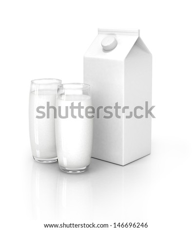Milk packs and glass of milk isolated on white  - stock photo