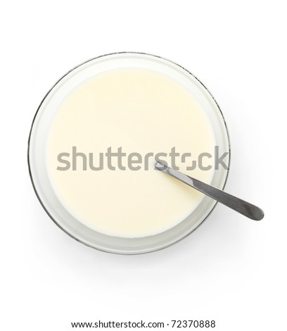 Milk plate with spoon - stock photo