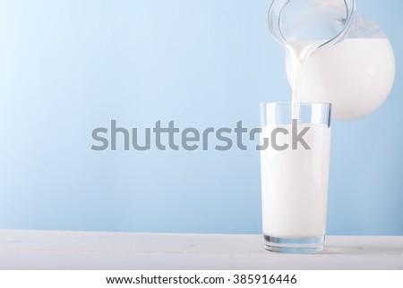 milk pouring - stock photo