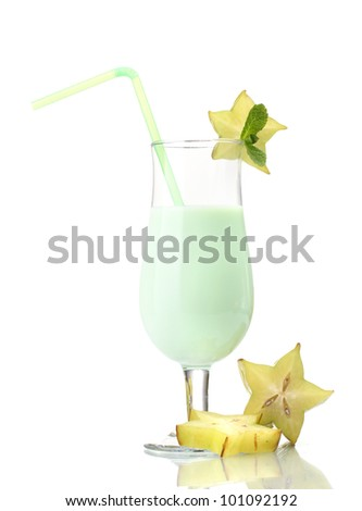 Milk shake with corambola isolated on white