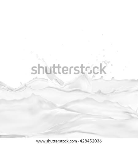 Milk Splash and Wave On White Background - stock photo