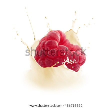 Milk splash with falling fresh tasty raspberry isolated on white