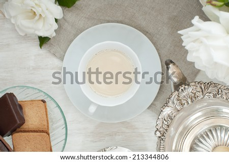 milk tea and biscuits from top - stock photo
