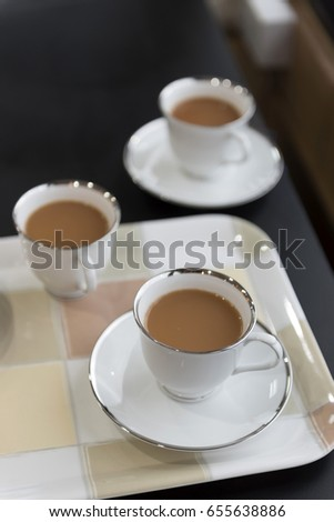 Milk tea on tray for serving