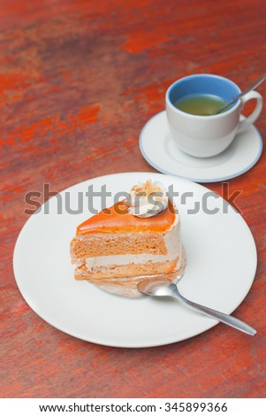 Milk tea sponge cake - stock photo