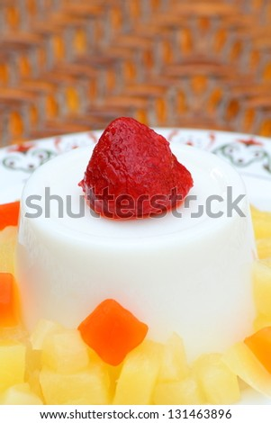 Milk with a fruit jelly. - stock photo