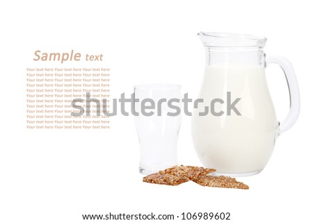 Milk with cookies on white background with sampl text. with clipping path