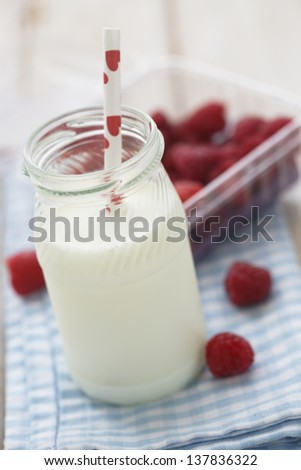 Milk with raspberry