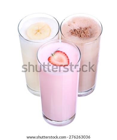 milkshakes chocolate flavor ice cream set collection isolated on white background