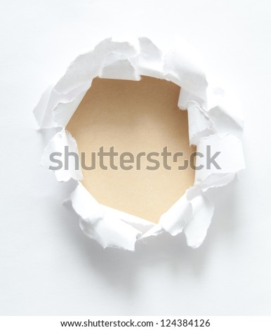 Milky circle shape breakthrough paper hole with white background - stock photo