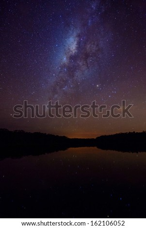 Milky way above a small lake in the rain forest, Ecuador - stock photo