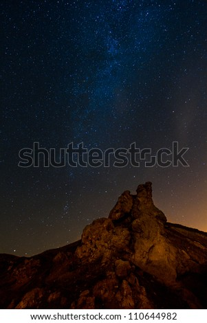 Milky way and big rocks in the foreground - stock photo