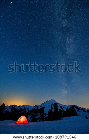 Milky Way and Mount Baker, red tent in foreground - stock photo