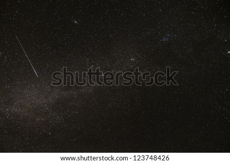 Milky way, Andromeda galaxy and satellite trail - stock photo