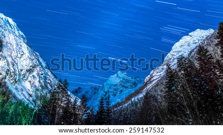 Milky Way at Amazing Night Sky in Mountains - stock photo