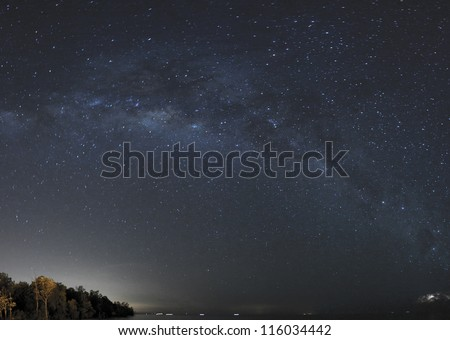 milky way at beautiful night - stock photo