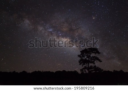 Milky Way at Phu Hin Rong Kla National Park,Phitsanulok Thailand - stock photo