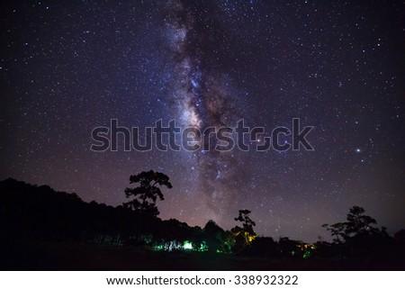 Milky Way at Phu Hin Rong Kla National Park,Phitsanulok Thailand,Long exposure photograph with grain - stock photo