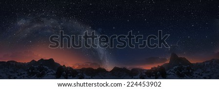 Milky way. 3d panorama view.  - stock photo