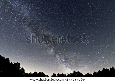 Milky Way galaxy beautiful night sky  - stock photo