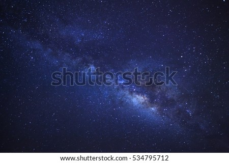 Milky Way galaxy, Long exposure photograph, with grain.