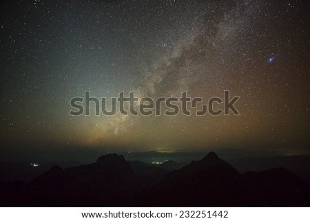 Milky Way Galaxy on top of high mountains of Chiang Mai, Thailand. - stock photo