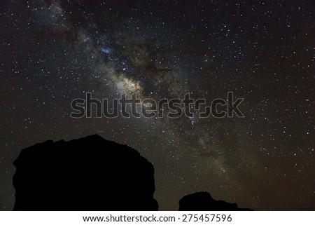 Milky way galaxy over night sky in Thailand - stock photo