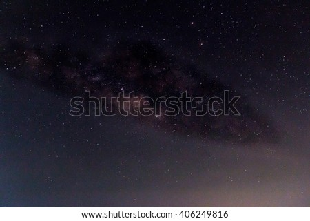 Milky Way ,Long exposure photograph,with grain.Image contain certain grain or noise and soft focus. - stock photo